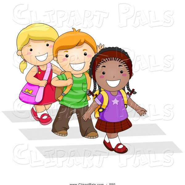 jpg royalty free stock Pal of a trio. Kids walking to school clipart