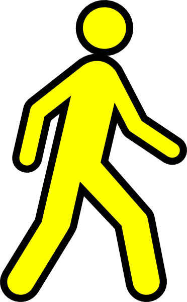svg freeuse library Walking man clipart. Yellow with black outline