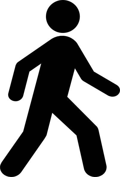 clip art free library Hiking clipart black and white. Walking man clip art