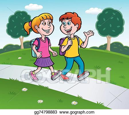 clip art freeuse download Vector stock girl and. Walking on sidewalk clipart