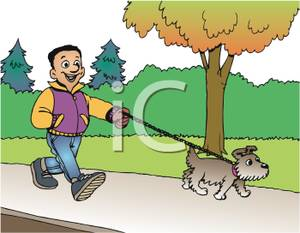 clip black and white Walking on sidewalk clipart. Boy a small dog