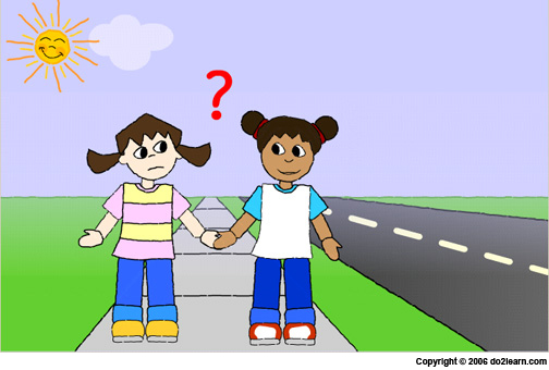 image black and white Walking on the sidewalk clipart. Autism and learning disability.