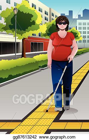 banner free Vector blind people . Walking on the sidewalk clipart.