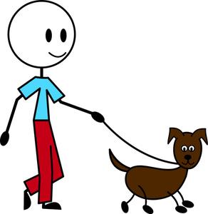 jpg freeuse download Man . Walking the dog clipart.