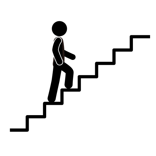 svg black and white Gold medal physical therapy. Walking up stairs clipart.