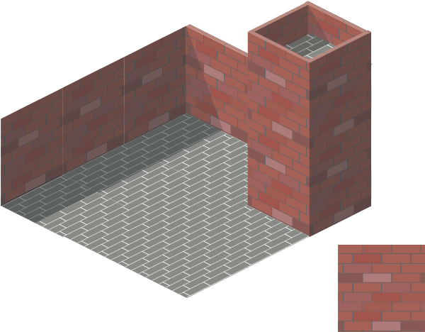 transparent stock Tile isometric clip art. 3d brick wall clipart