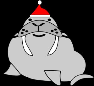 clipart stock Seal wearing santa clip. Walrus clipart grey thing