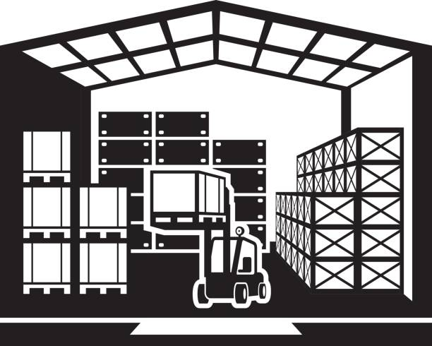 svg black and white Warehouse clipart.  clipartlook.
