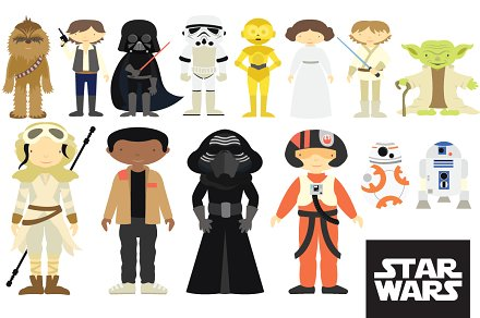 banner transparent Wars clipart 1 character. Star characters set illustrations