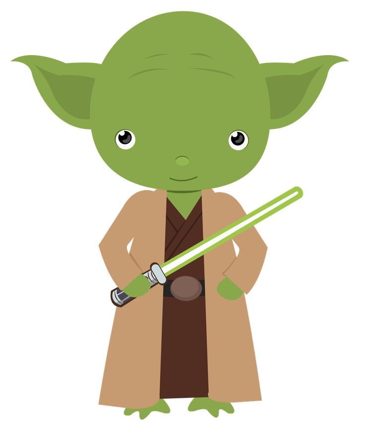 clip art black and white Yoda star . Wars clipart.