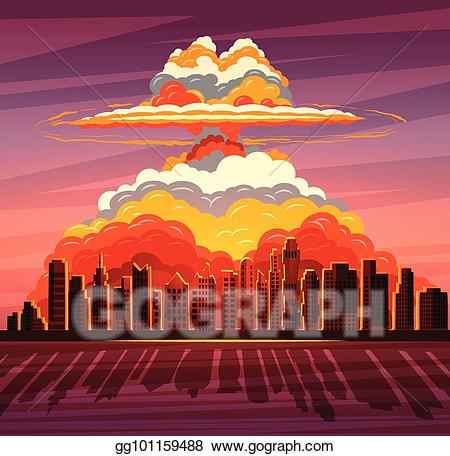 svg royalty free stock Vector art nuclear explosion. Wars clipart bombed city