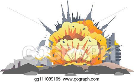 vector Wars clipart bombed city. Eps illustration bomb explosion