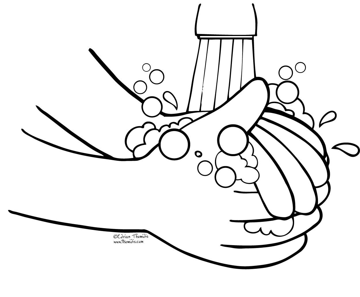 vector library Wash clipart hand template. Your hands coloring page