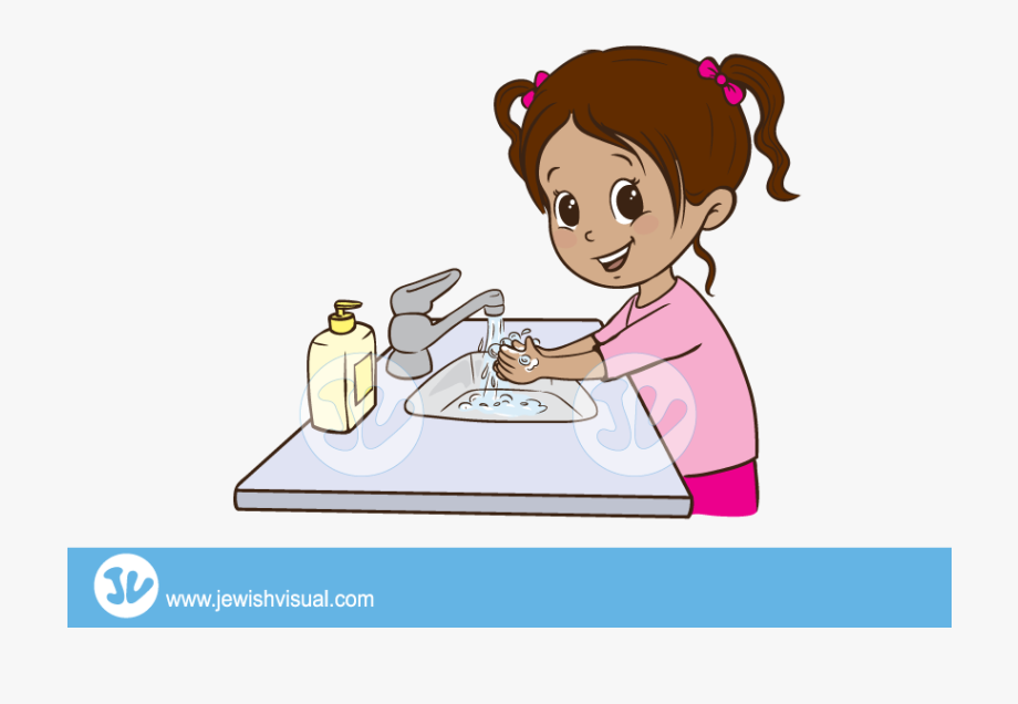 black and white Cleaning girl washing hands. Wash clipart person