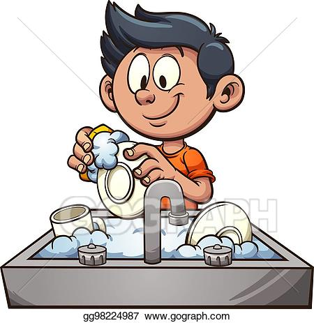 clipart black and white Vector art boy dishes. Washing clipart.