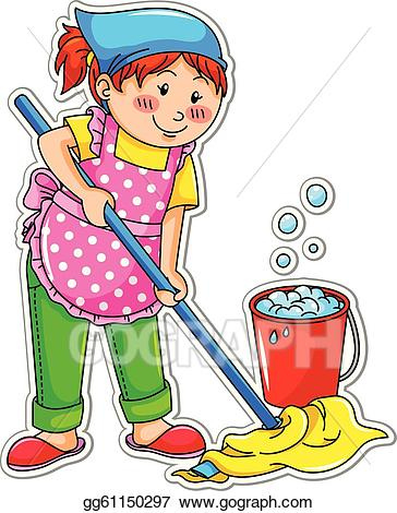vector transparent stock Vector illustration cleaning girl. Washing clipart cleanliness