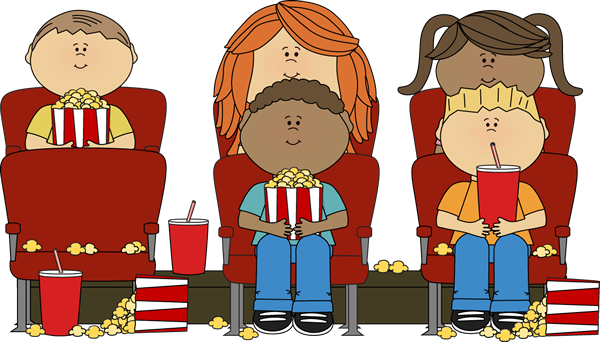 library Kids Watching Movie in Theater Clip Art