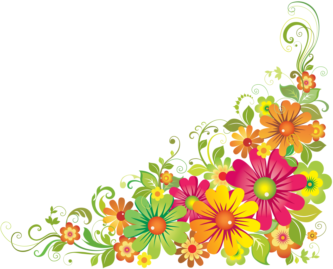 vector transparent stock Wildflower clipart corner border flower.  f e orig