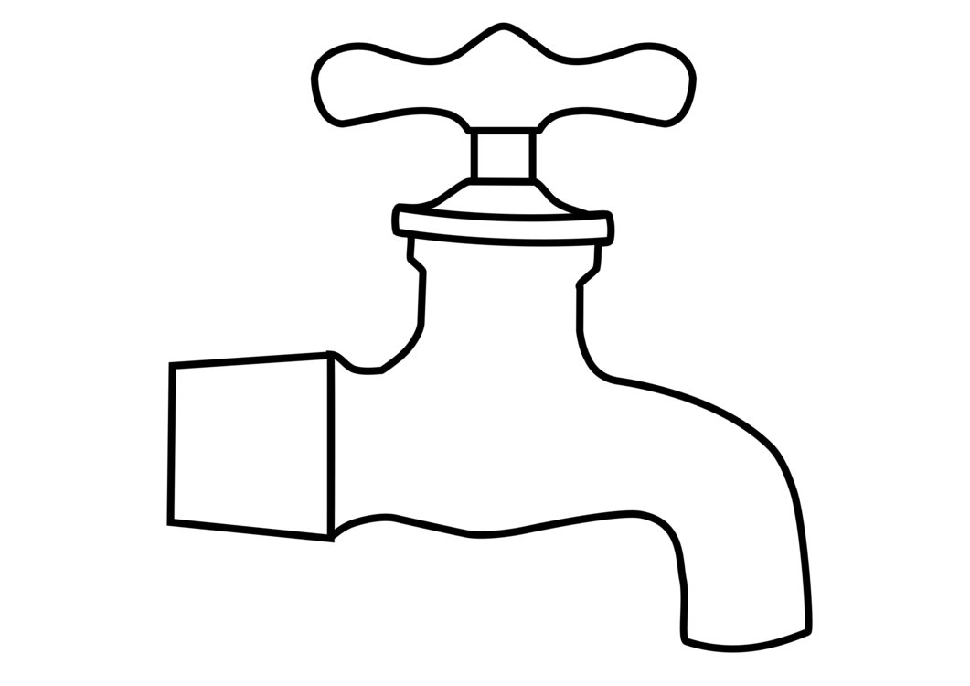 graphic transparent library Fine drawing motif stainless. Water faucet clipart black and white