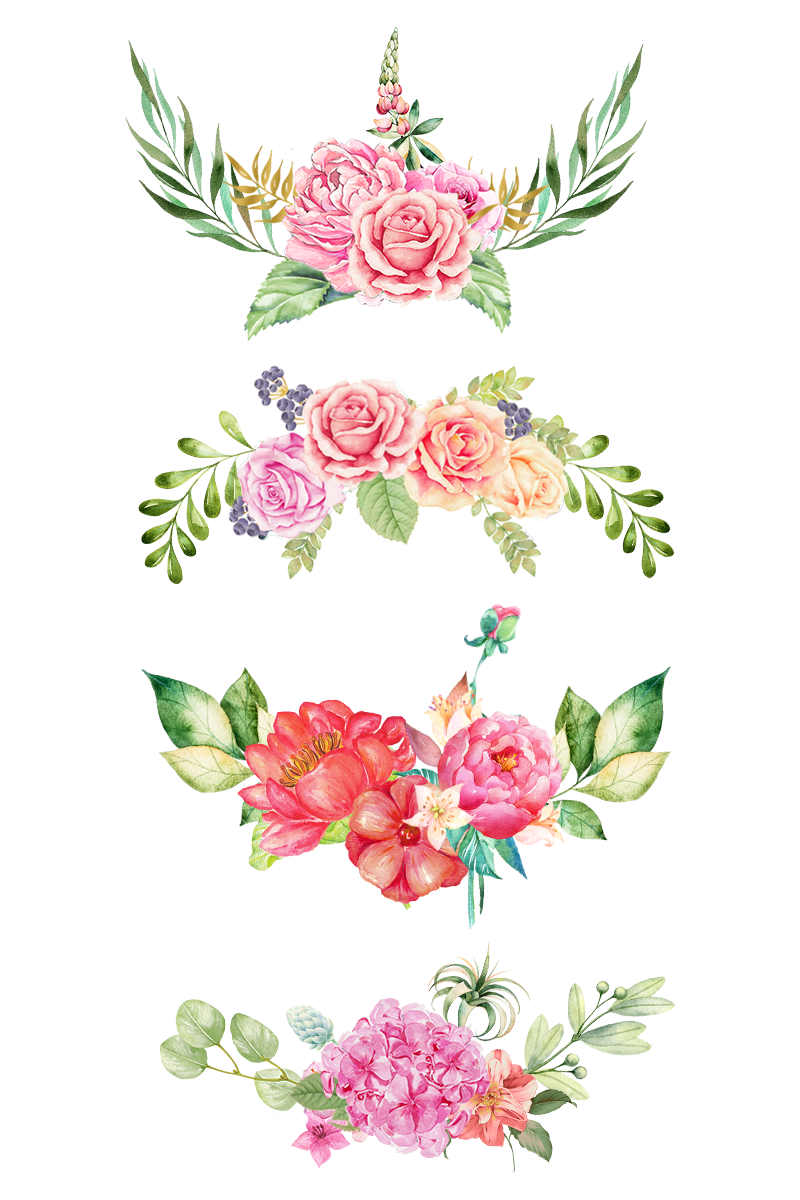 jpg royalty free library The bottom pink flowers. Watercolor clipart