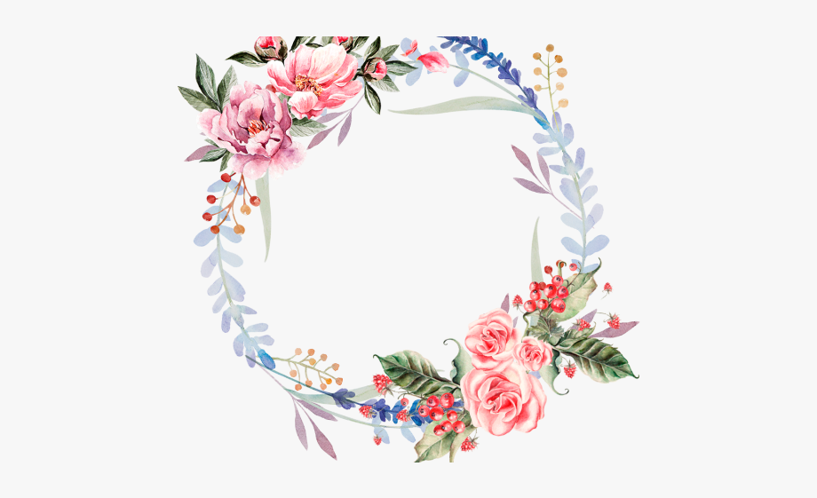 image royalty free library Watercolor wreath clipart. Red flower flowers png