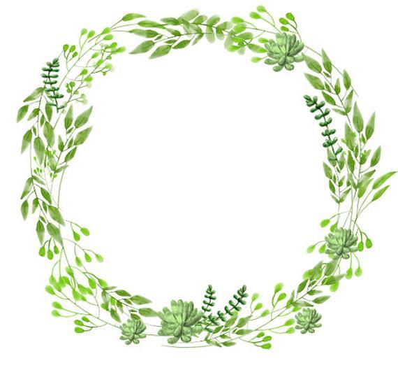 clipart transparent stock Watercolor wreath clipart. Greenery succulents minimalist