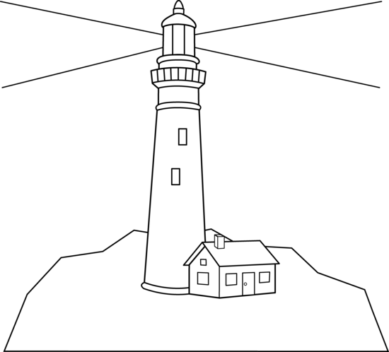 clipart royalty free Outline of a scene. Lighthouse clipart black and white
