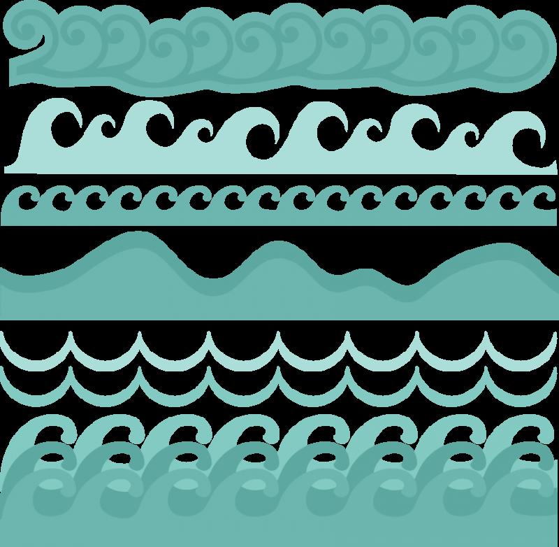 graphic free Wave borders svg cut. Beach border clipart
