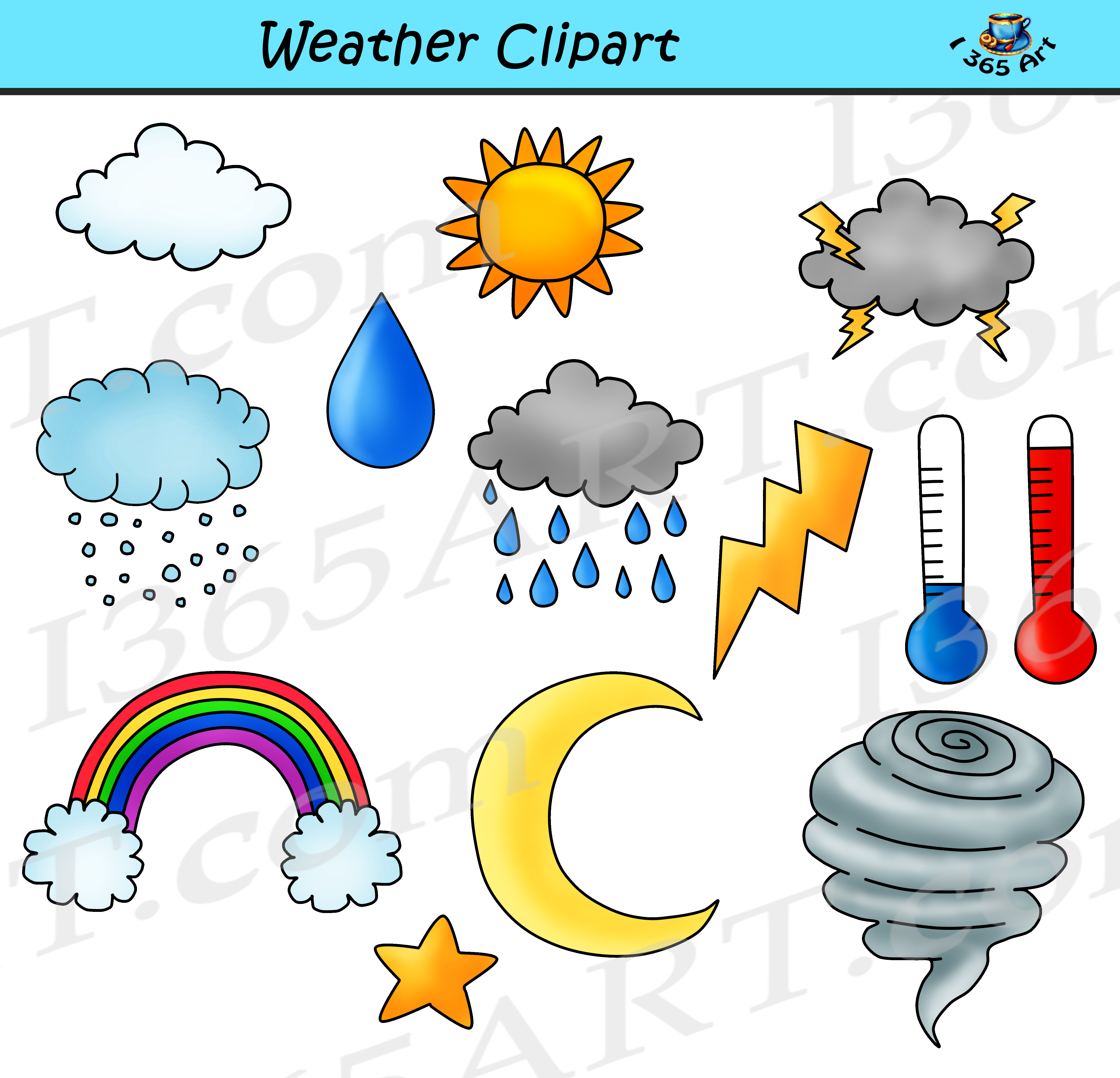 royalty free stock Bundle commercial for school. Weather clipart.