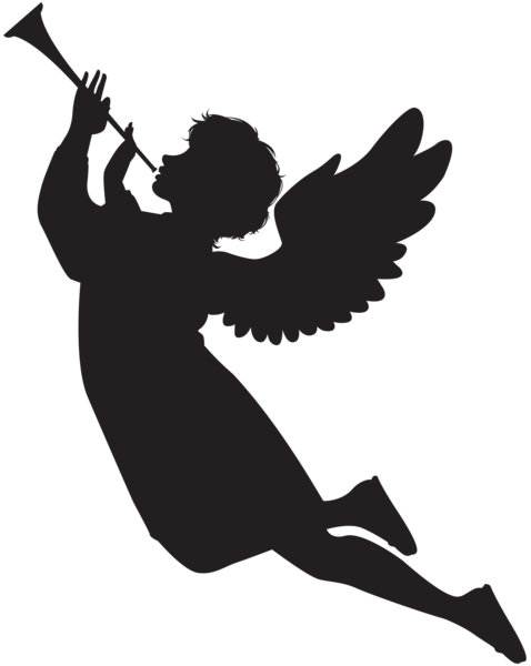 svg freeuse Vector angel trumpet. With fanfare silhouette png