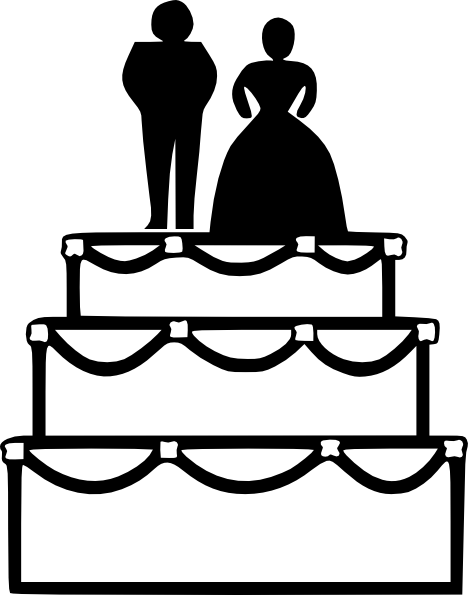 jpg stock Black And White Wedding Cake Clip Art