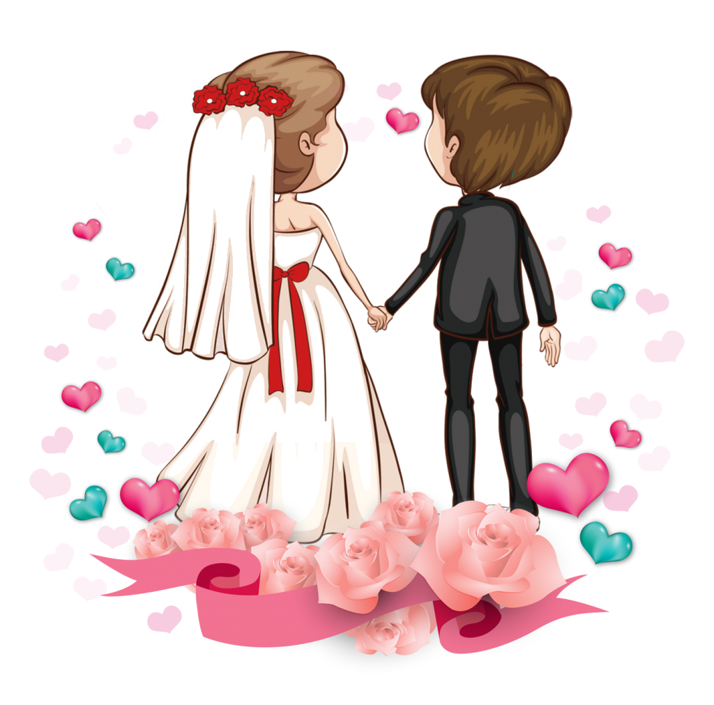 vector black and white Wedding Couple Clipart Free Download