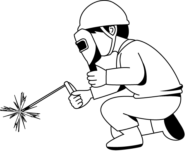 graphic transparent library Construction worker clipart black and white. Welding sparks clip art.