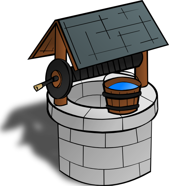 clipart black and white library Wishing Well Clipart animated