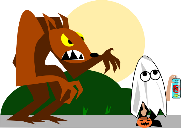 royalty free library Werewolf clipart. Chasing kid clip art