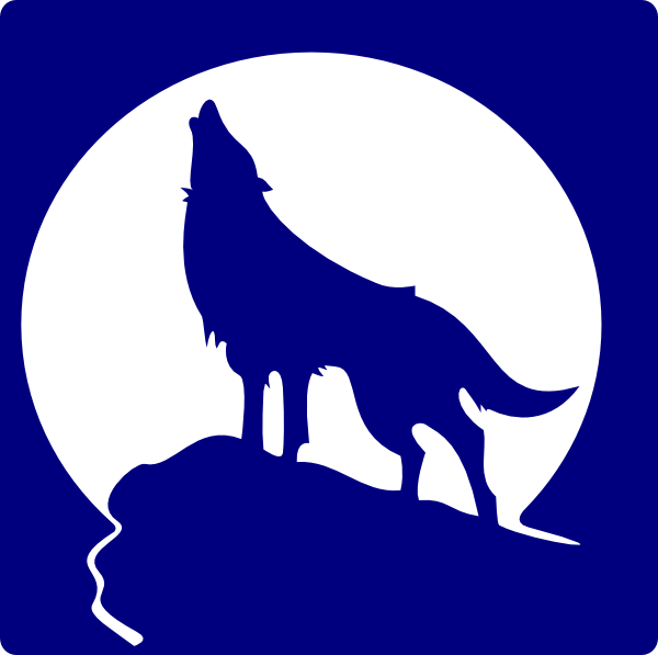 vector freeuse stock Blue Wolf Silhouette To The Moon Clip Art at Clker