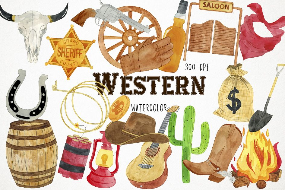 picture freeuse library Western clipart. Watercolor clip art cowboy