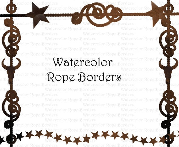 banner library library Western clipart borders. Watercolor cowboy rope border