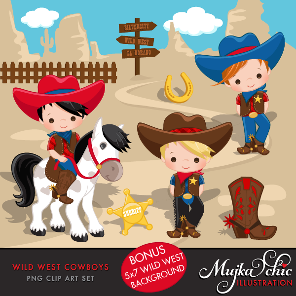 png library Wild west cute cowboy. Western cowboys clipart