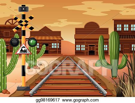clip art library library Western scenery clipart. Vector art scene with