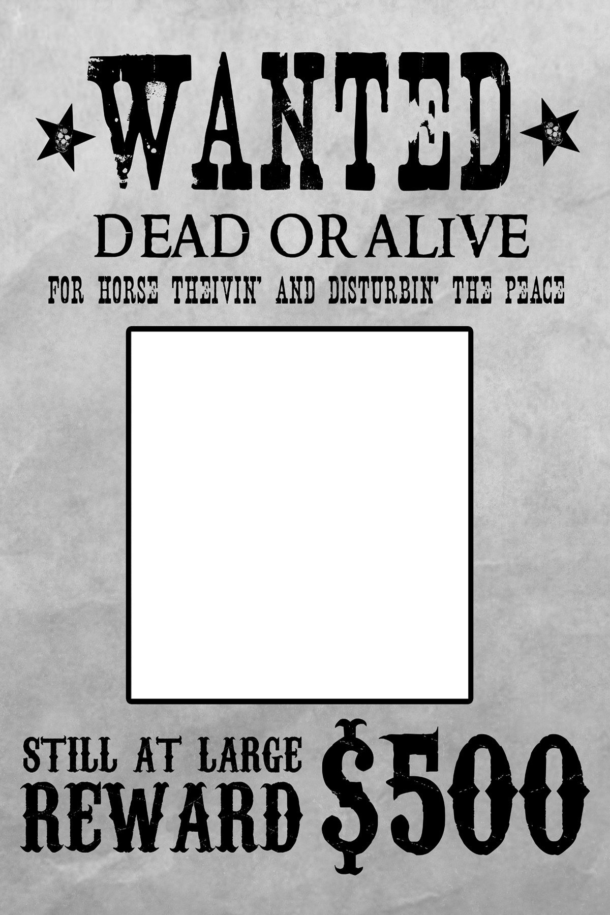 picture transparent stock Western wanted poster clipart. White template
