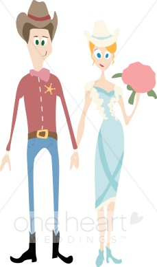 clip black and white library Cartoon country couple . Western wedding clipart images