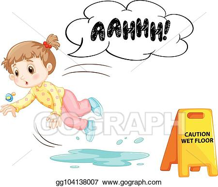 clipart transparent library Wet clipart wet kid. Vector art a slipping