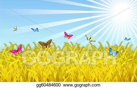 graphic Vector art eps gg. Wheat field clipart