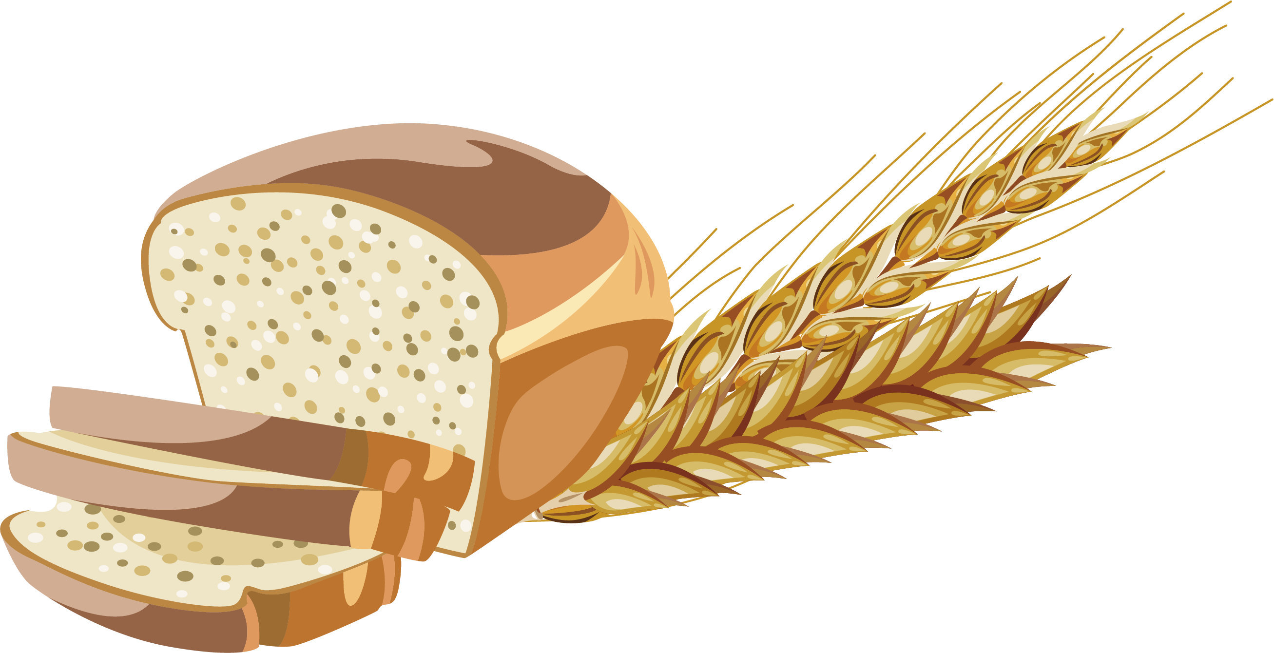 graphic freeuse library Whole bread brown grain. Wheat flour clipart