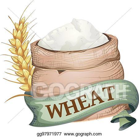 banner transparent stock Vector art sack ribbon. Wheat flour clipart