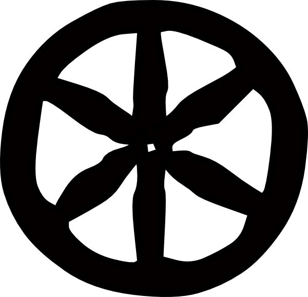 png free Wheel black and white clipart. Solid one layer wagon.