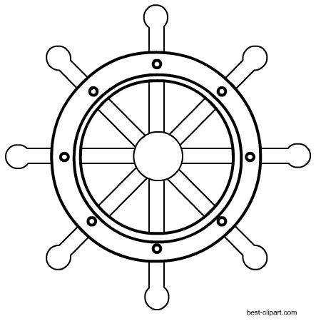 vector transparent stock Wheel black and white clipart. Free nautical clip art.