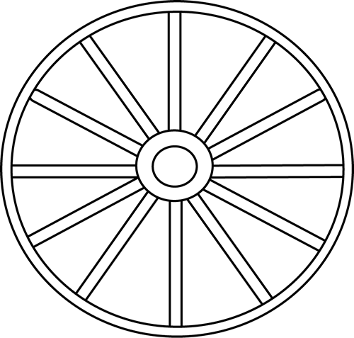 freeuse stock Black and White Wheel Clip Art