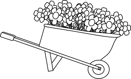 png royalty free download Wheelbarrow clipart. Black and white filled